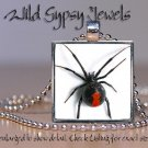 "Punk Gothic Black Widow Spider 1"" sq Glass Tile Fashion Necklace Pendant"