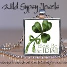 "Shamrock Irish green St Patrick's Day 1"" glass tile metal pendant charm necklace"