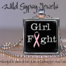 Fight Like a Girl PINK Breast Cancer Awareness glass tile pendant charm necklace