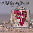 Glass tile metal pendant charm RED Heart necklace ephemera Key mauve Pink HOT