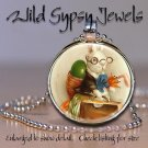 """Geek Geekery Easter Bunny egg basket 1"""" glass tile round metal pendant necklace"""