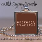 "Coffee Lover caffeine Expresso brewed cafe 1"" glass tile metal pendant necklace"