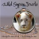 "White Lion cub BIG CAT 1"" round glass tile metal pendant charm necklace"