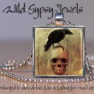 "Black Raven Crow Gothic smiling skull Punk creepy 1"" glass tile pendant necklace"