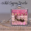 Breast Cancer Awareness SISTERS UNITE Find a CURE Glass Tile Pendant necklace