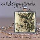 "Elf Vtg Fairy Fae fairytale forest 1"" glass tile pendant metal charm necklace"