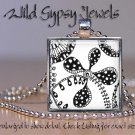 """Fashionable abstract art B&W doodle DRAWING 1"""" glass tile metal pendant NECKLACE"""
