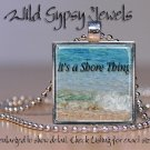 """Jersey Shore Beach Girl Sand chic Sea Waves 1"""" glass tile Metal pendant necklace"""