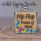 "Beach Sand Flip Flop colorful bright HOT 1"" glass tile metal pendant necklace"