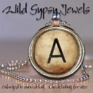 A-Z Initial alphabet Personalized Vtg Grunge round glass Tile Necklace Pendant