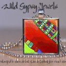 "Abstract ART Teal Sage Sienna Autumn colored 1"" glass tile pendant NECKLACE HOT"