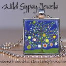 """Tree of Life chic Blue Green 1"""" SQUARE glass tile metal charm pendant necklace"""