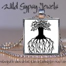 """Tree of Life chic Black White 1"""" SQUARE glass tile metal charm pendant necklace"""
