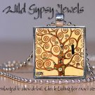 "Gustav Klimt Tree of Life crow tan modern whimsical 1"" sq glass tile pendant necklace"