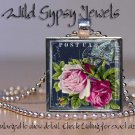 """Chic shabby vtg postcard roses navy pink glass 1"""" tile pendant necklace made USA"""