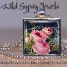 """Vtg roses navy Antique Postcard PINK baby blue 1"""" glass tile pendant necklace"""