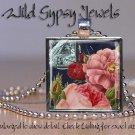 "Antique Postcard navy vtg roses pink peach coral 1"" glass tile pendant necklace"