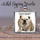 "White English Bulldog Bully cute 1"" HOT glass tile square metal pendant necklace"