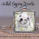 "English White bulldog Bully Puppy 1"" glass tile square metal pendant necklace"
