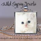 "White Cat Kitten sweet furry cute chic 1"" HOT glass tile metal pendant necklac"