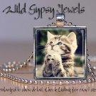 """Cat Kitten Praying cute sweet inspiring 1"""" HOT glass tile metal pendant necklac"""