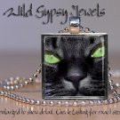 "Black Cat Kitten green eyes sleek chic 1"" HOT glass tile metal pendant necklace"