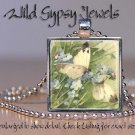 White Butterflies Blue flower Cream chic glass tile metal pendant charm necklace