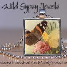 Butterflies yellow cream brown pink Vtg glass tile metal pendant charm necklace
