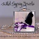 Black Butterfly Purple flower neutral bg glass tile metal pendant charm necklace