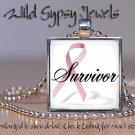 Survivor Breast Cancer Awareness PINK glass tile metal pendant charm necklace