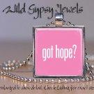 Got HOPE Breast Cancer Awareness PINK glass tile metal pendant charm necklace