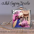 Go Fight WIN Breast Cancer Awareness glass tile metal pendant charm necklace
