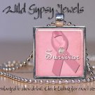 Breast Cancer Survivor PINK ribbon glass chic tile metal pendant charm necklace