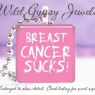 Breast Cancer Awareness PINK WHITE Punk glass tile metal pendant charm necklace