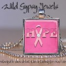 Breast Cancer Awareness HOPE PINK ribbon glass tile metal pendant charm necklace