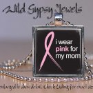 Mom Pink Ribbon Breast Cancer Awareness glass tile metal pendant charm necklace