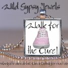 Walk for the Cure Breast Cancer Awareness PINK glass tile metal pendant necklace