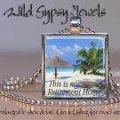 "Tropical Island Ocean Sea Beach Retirement 1"" glass tile metal pendant necklace"