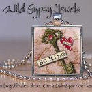 Key to My Heart Be Mine LOVE altered art glass tile metal pendant charm necklace