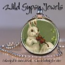Violin music Easter Bunny French pc 1&quot; glass tile round metal pendant necklace