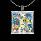 Owls bright Tree of Life watercolor art print glass tile metal pendant necklace