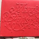 Red Embossed Merry Christmas Greeting Card