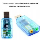 USB 3D SOUND CARD USB 2.0 to 3D AUDIO SOUND CARD ADAPTER VIRTUAL 5.1 channel BLUE