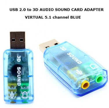 Free shipping  Virtual 5.1 3D Sound USB to Audio Microphone Card Adapter for PC