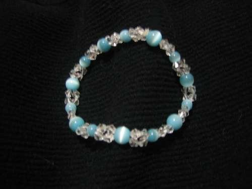 "Beaded Blue ""Cat's Eye"" bracelet"