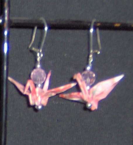 Pink-patterned Origami Crane Earrings