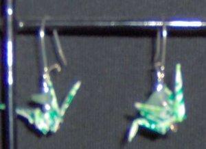 Aventurine Origami Crane Earrings