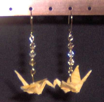 Yellow Swarovski-accented Origami Crane Earrings