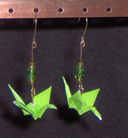 Lime Green Origami Crane Earrings