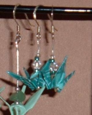 Turquoise Origami Crane Earrings (sterling silver)